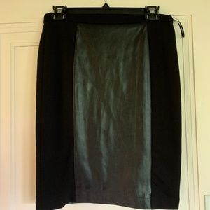 Black Pencil Skirt with Leather Strip